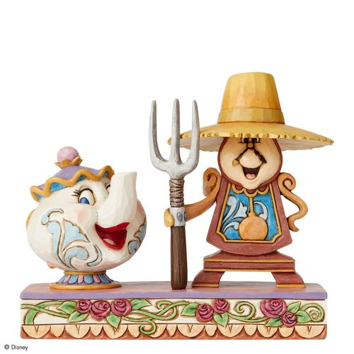 Disney Traditions Workin Round the Clock Mrs. Potts and Cogsworth Figurine
