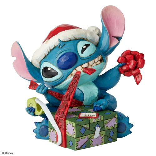 Disney Traditions Bad Wrap Stitch with Santa Hat Figurine