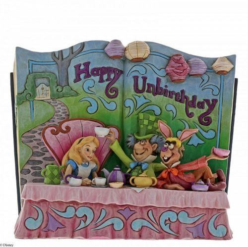 Disney Traditions Happy Unbirthday Storybook Alice in Wonderland Tea Party Figurine