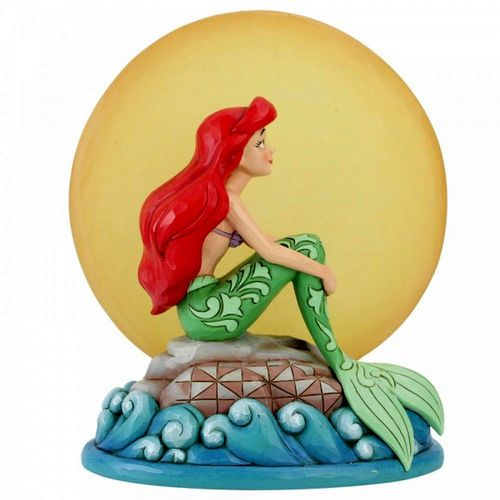 Disney Traditions Mermaid by Moonlight Ariel on a Rock Light up Moon Figurine