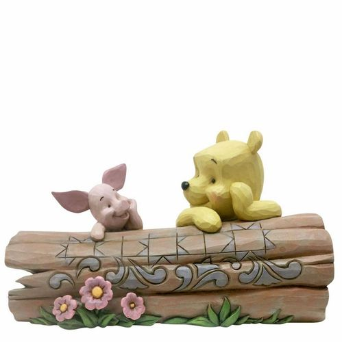 Disney Traditions Truncated Conversation Pooh and Piglet on a Log Figurine