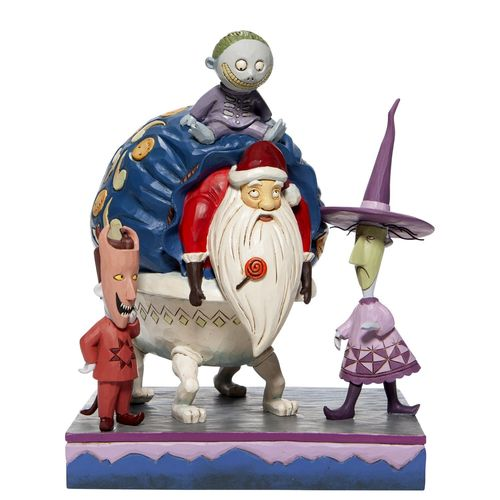Disney Traditions Bagged and Delivered Lock, Shock and Barrel with Santa Figurine