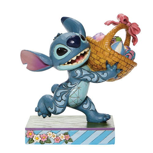 Disney Traditions Bizarre Bunny Stitch Running off with Easter Basket Figurine