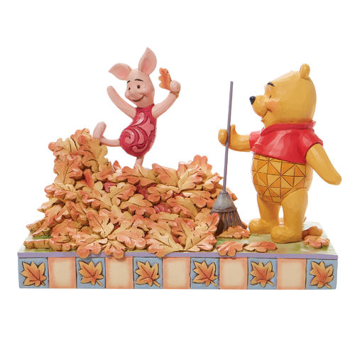 Disney Traditions Jumping into Fall Piglet and Pooh Autumn Leaves Figurine