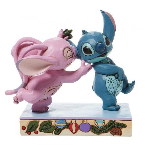 Disney Traditions Mistletoe Kisses Stitch and Angel Figurine